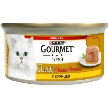 АКЦИЯ! (Скидка 0-0-25%) Gourmet Gold, консерва для кошек, нежная начинка, курица, 85 г