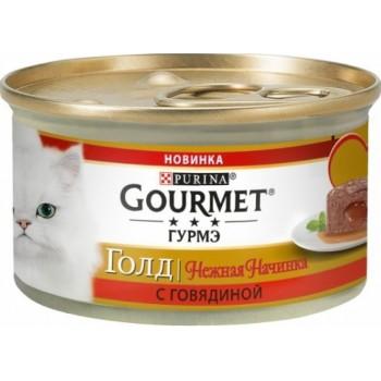 АКЦИЯ! (Скидка 0-0-25%) Gourmet Gold, консерва для кошек, нежная начинка, говядина, 85 г