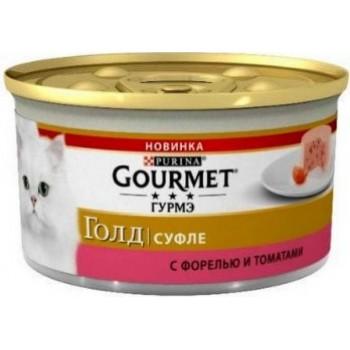 Gourmet Gold, консерва для кошек, форель/томаты, суфле, 85 г