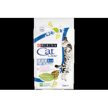 АКЦИЯ! (Скидка 10%) Cat Chow 3 в 1, для взрослых кошек, индейка, 1,5 кг